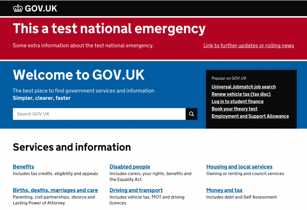 Screenshot of what a test national emergency message on GOV.UK looks like