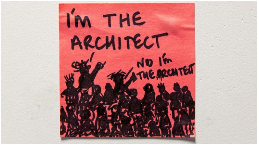 Drawing of people all claiming to be the architect