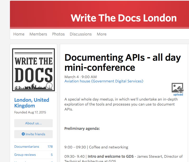 Write The Docs London invite