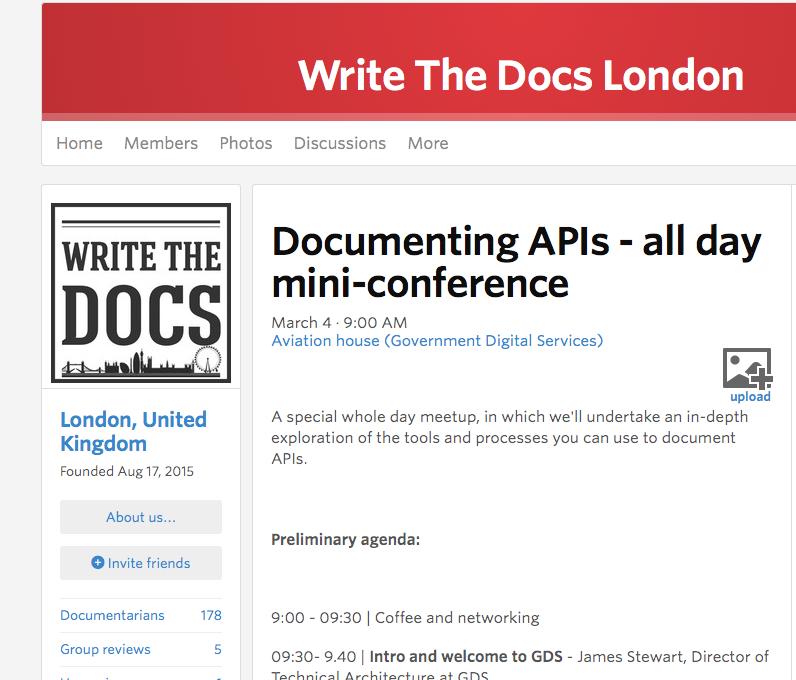 Write The Docs London invite