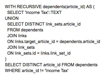 Screenshot of a query
