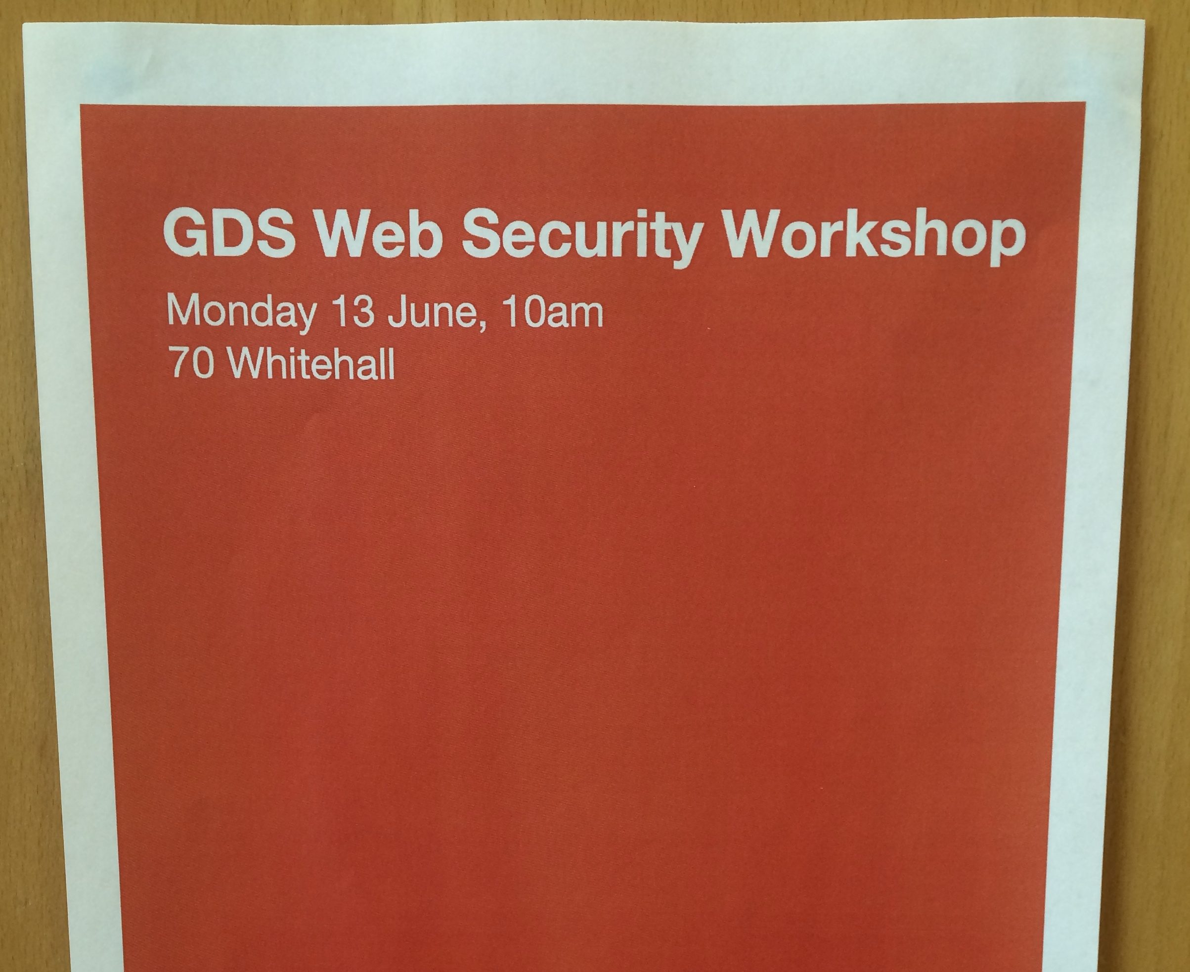 GDS Web Security Workshop poster