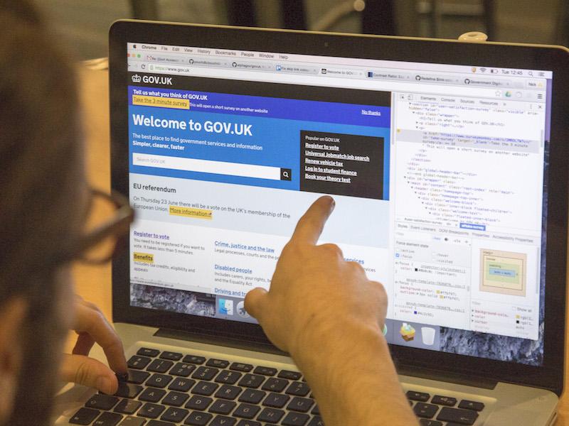Screen showing GOV.UK homepage