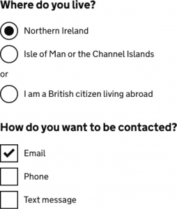 An image of our new radio buttons in use on Verify.