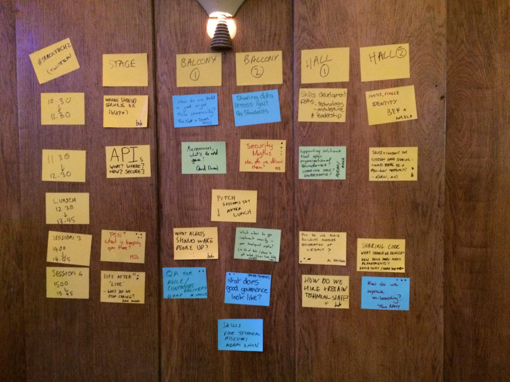 StackTech2 post-it notes about the different sessionson a wall