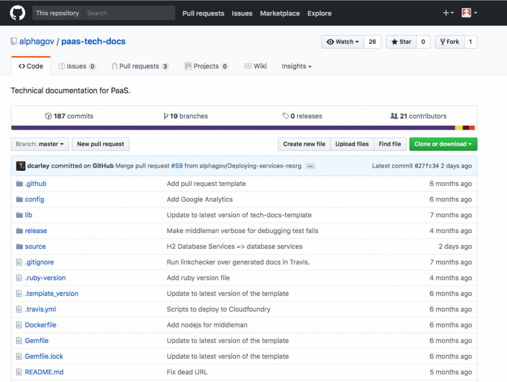 Screenshot of Alphagov Paas