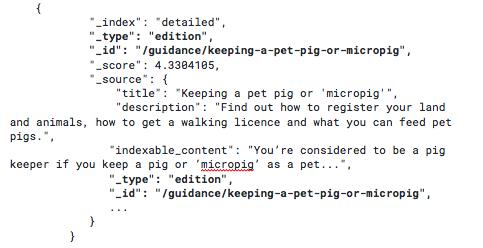 Screenshot of queried Elasticsearch response