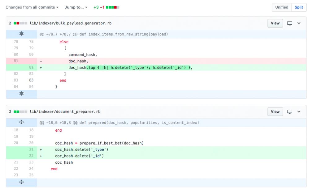 Screenshot showing 3 line code change