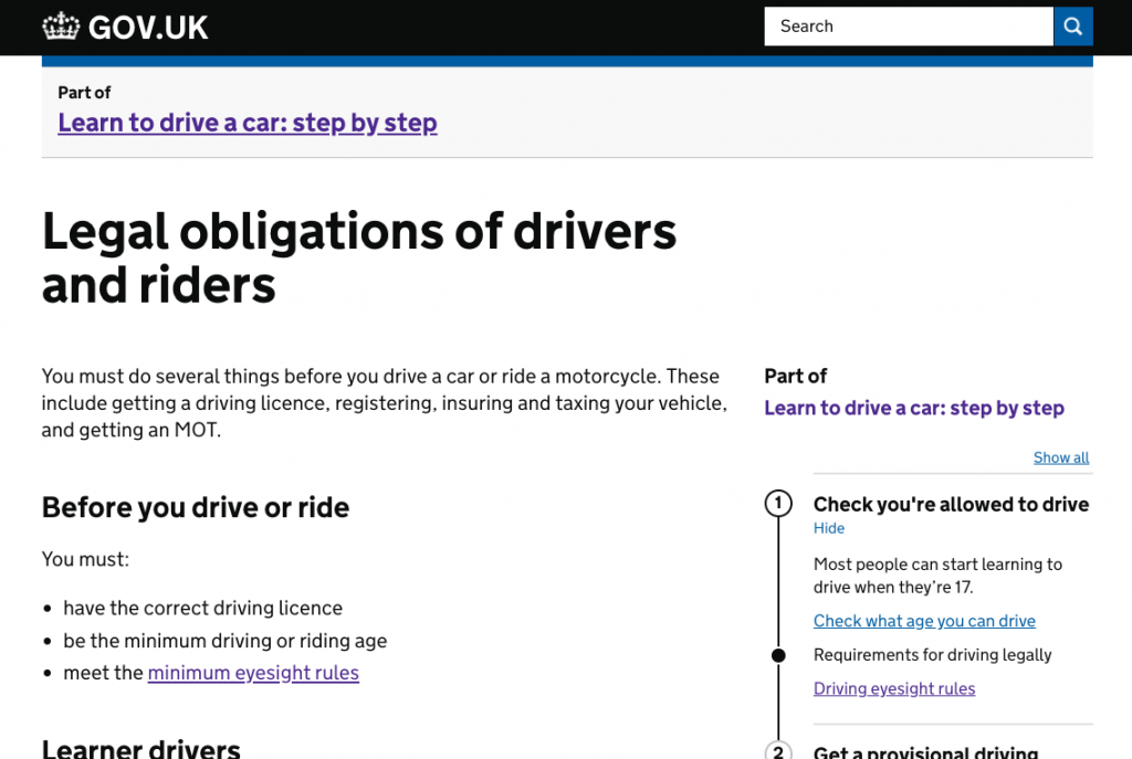 """GOV.UK webpage showing step by step instructions for learning to drive"""
