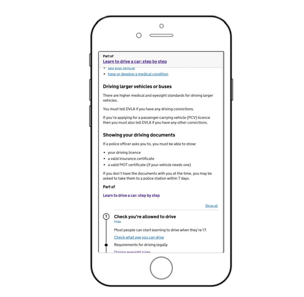 """GOV.UK step by step guide on iPhone"""