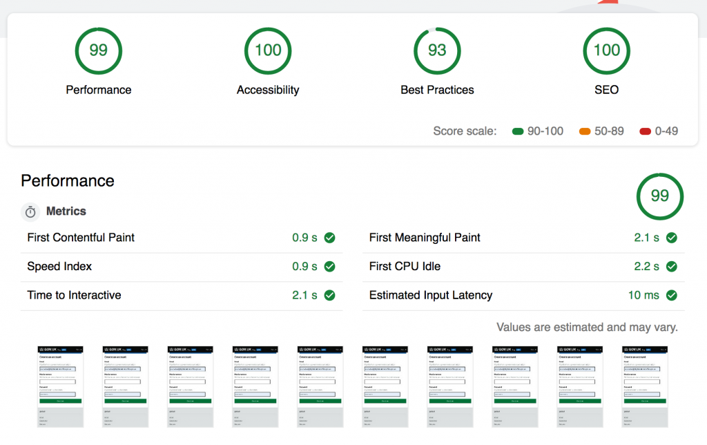 Performance score was 91, accessibility was 100 and best practices was 93 and SEO was 89. All out of 100