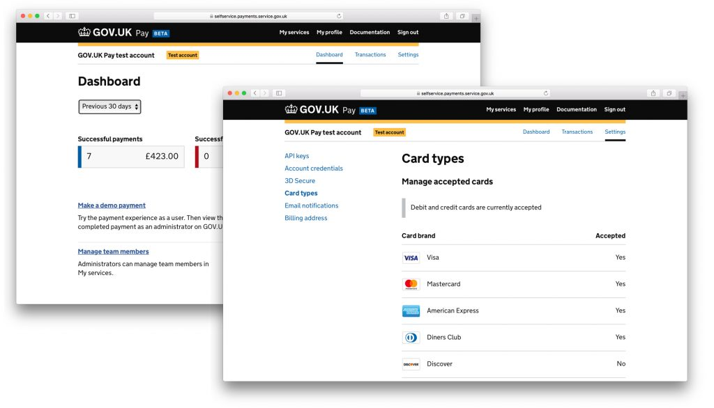 The first image shows the GOV.UK dashboard and this is then overlayed with the cards types available on Pay