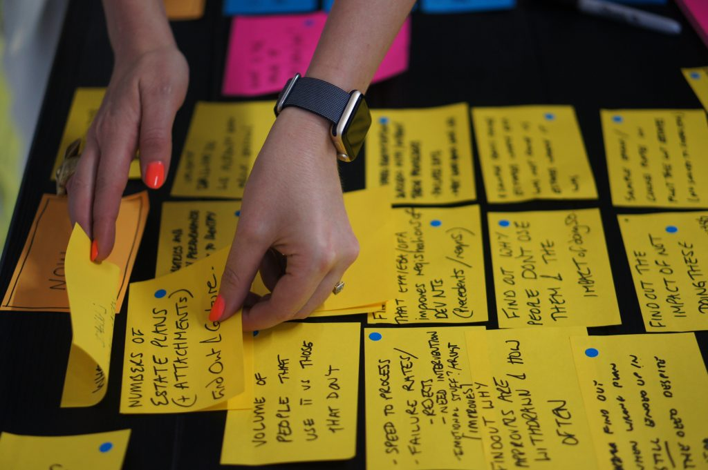 Sorting post-it notes in an agile way