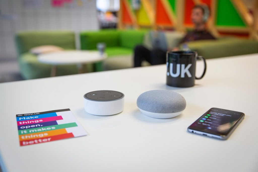 Voice assistants on a table
