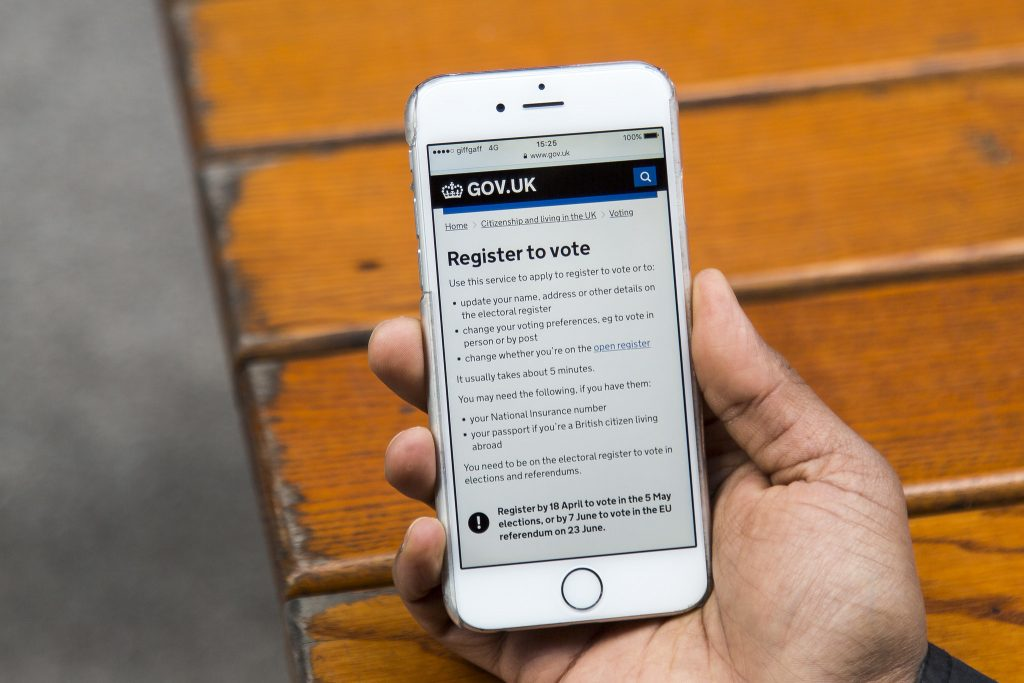 GOV.UK Register to vote screen on an iPhone