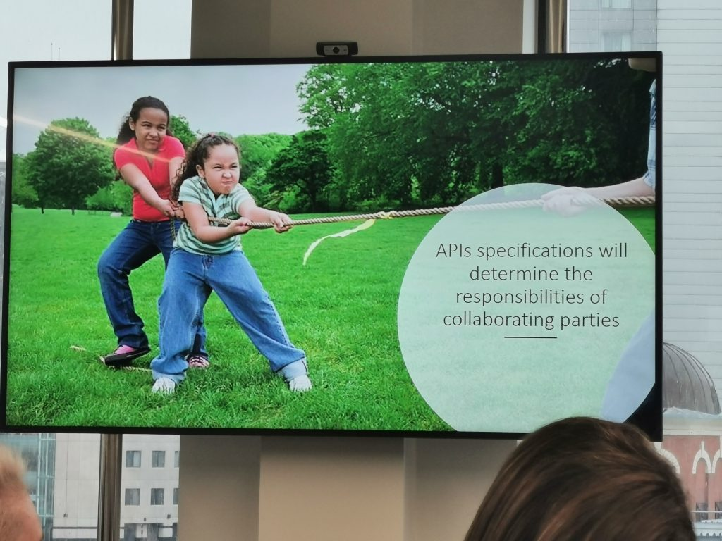 Presentation slide: API specs will determine the responsibilities of collaborating parties
