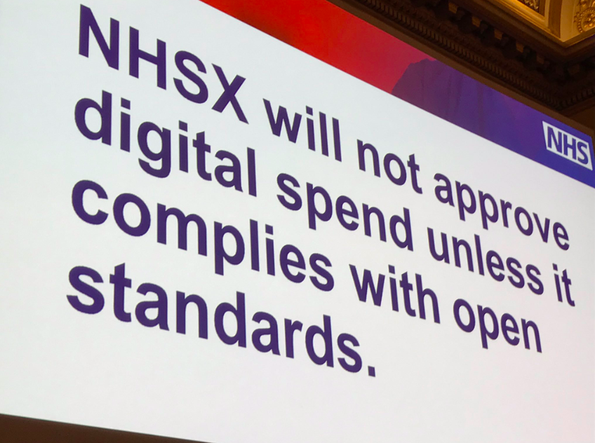 Presentation slide: NHSX will not approve digital spend unless it complies with open standards