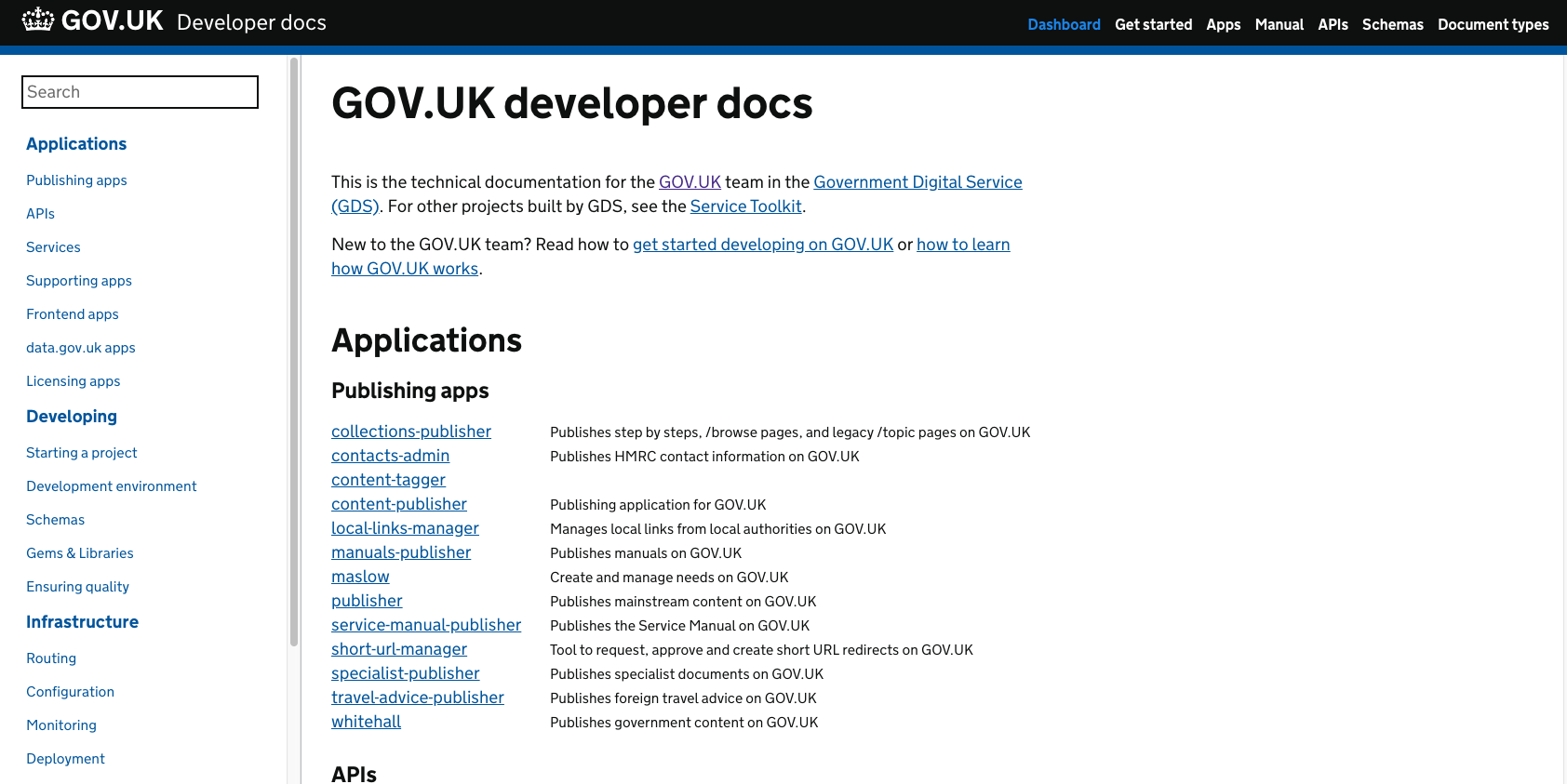 GOV.UK Developer docs screenshot