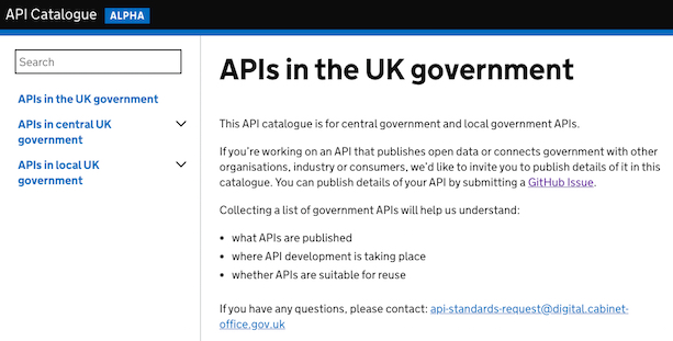 A screenshot showing the UK government API catalogue
