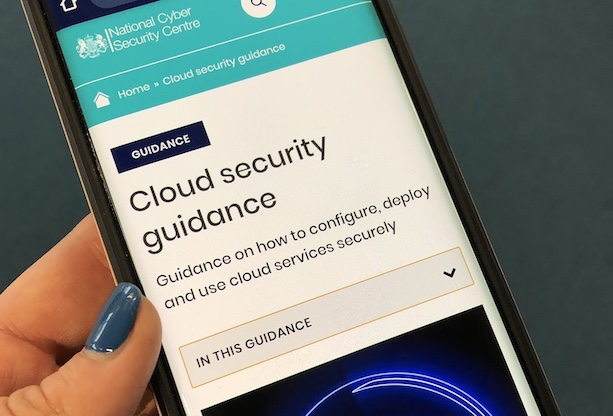The NCSC cloud security guidance being displayed on a smartphone screen