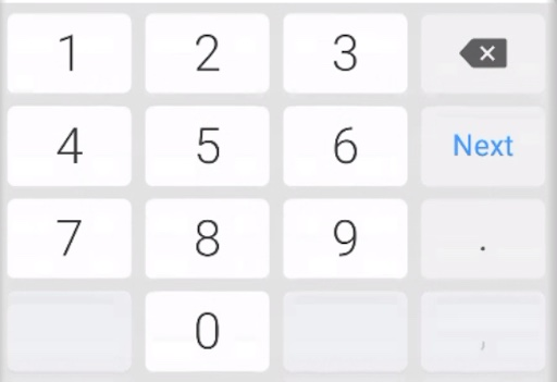 A large buttoned keypad used on Android devices