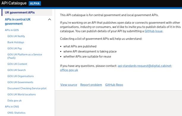 A screenshot of the UK government API catalogue