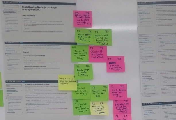 Post-it notes describing improvements identified during user research sessions