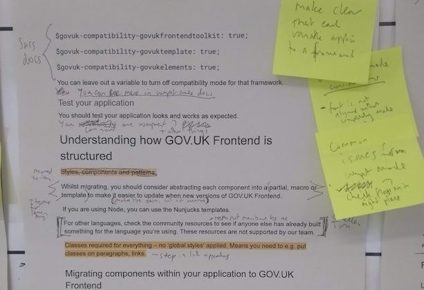 Post-its and notes describing improvements to the documentation identified during user research