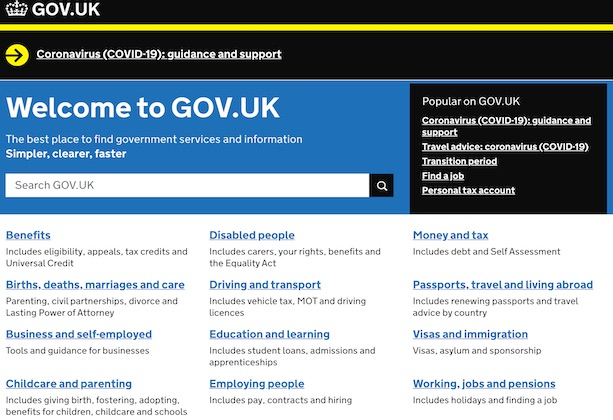 A screenshot of the GOV.UK homepage