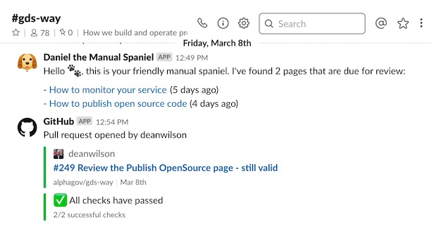 a screenshot of Daniel the Manual Spaniel showing 2 pages needing review and a GitHub pull request to update one of the pages