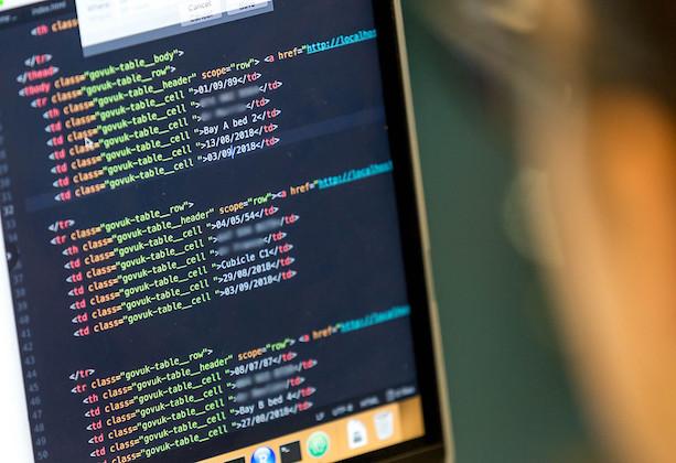 A screen showing code being written