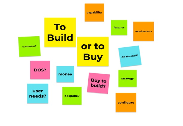 Post-it notes describing what to think about when deciding to buy or build technology
