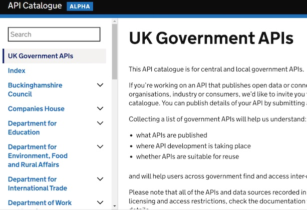 A screenshot of the UK Government API catalogue in alpha. The catalogue is a central repository of links to APIs across government