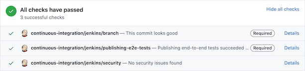 Continuous integration tests passing for a change to a GOV.UK app